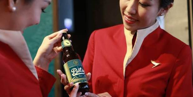 Cathay Pacific's Betsy Beer was introduce on flights between Hong Kong and Britain in March. Photo / Supplied