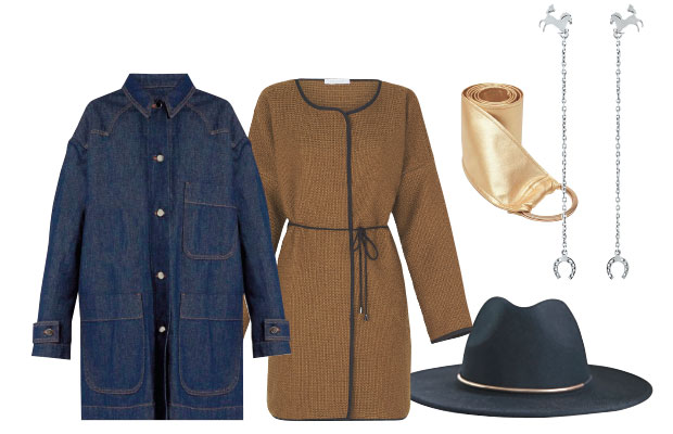 MM6 by Maison Margiela denim coat, $767, from The Shelter. Mesop jacket $349. Kate Sylvester leather belt $129. Andrea Moore sterling silver earrings $189. Moochi hat $90.