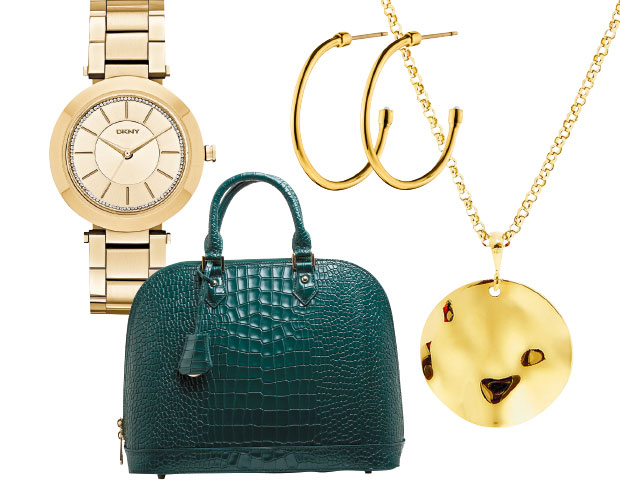 DKNY watch, $299, from Smith & Caughey's. Dyrberg Kern hoop earrings $149. Holly Ryan sterling silver 18-carat gold-plated necklace, $408, from Well Made Clothes. Mi Piaci handbag $320.