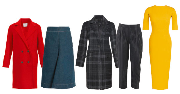 Tibi coat, $1995, from Muse. Lemaire skirt, about $470, from Matches. Max coat $250.  Storm pants $179. Lonely dress $275.