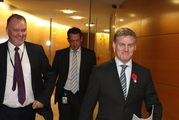 Prime Minister Bill English arrives to announce his new line-up for Cabinet. Photo/Mark Mitchell