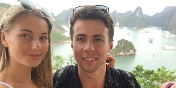 Lucy Casley with partner Jimmy on Halong Ti Top Island.