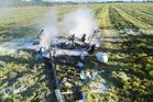Hokitika Airport manager Drew Howat and DoC staff member Tim Shaw were flown to Christchurch Hospital on Saturday after managing to crawl out of the wreck  of their microlight following a fiery crash landing. Photo / Hokitika Guardian