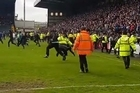 The steward at the clash between Notts County and Portsmouth has been censured for tripping Pompey fans
