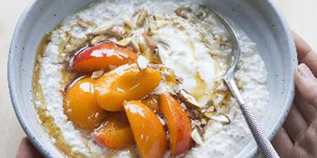 Overnight oats with macerated apricots. Photo / Kieran Scott.