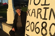 Auckland man Paul Sadlier makes sure his Great-Uncle Toi Karina is remembered at this morning's public service at Auckland War Memorial Museum. Photo/NZME