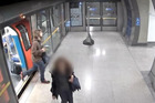 Chilling CCTV footage shows the moment that an 'ISIS inspired' student from Devon steps off the train at London Bridge, with the homemade bomb propped up against the seat by the door. Photo / Duncan Gardham