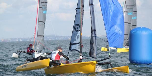 Jon Bilger in action in the single-handed Weta today. Photo / Supplied