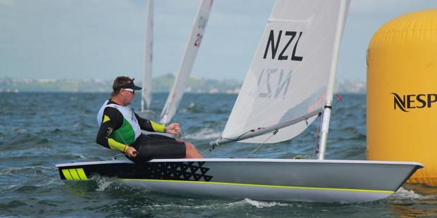 Dan Slater on his way to gold at the World Masters Games. Photo / Supplied
