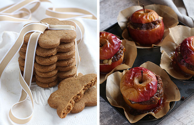 Allyson Gofton's speculaa biscuits and stuffed apple crumbles. Photos / Bite magazine