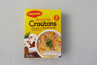 Maggis soup for a cup cream of mushroom with croutons. Photo / Wendyl Nissen