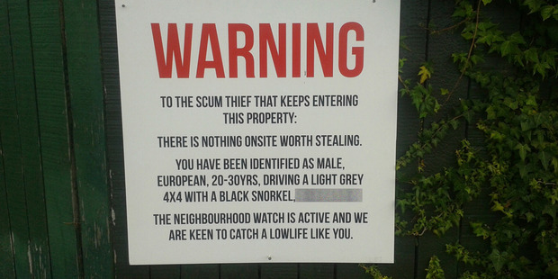 Grey Lynn takes a dim view of thieves. Photo/Supplied