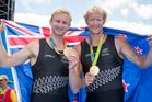 Hamish Bond and Eric Murray after winning gold. Photo / Photosport
