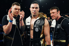 Joseph Parker, between Taylor Barry, left, and Kevin Barry, before his fight for the WBO world heavyweight title against Andy Ruiz Jr in Auckland last December. Photo / Photosport