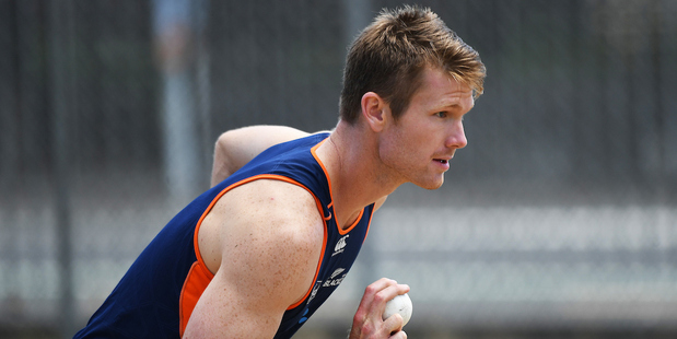 Jimmy Neesham has been working on his bowling action in training. Photo / Photosport