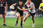 Warriors captain Roger Tuivasa-Sheck was inspirational in his side's 14-13 NRL win over the Roosters. Photo / Photosport.