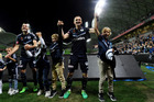 Besart Berisha of the Victory celebrates with his family after their win in the A-League Semi Final match between Melbourne Victory and Brisbane Roar. Photo / AAP