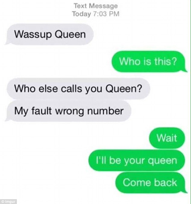 This person was reluctant to say goodbye to the sender after he referred to her as a Queen. Photo / Imgur