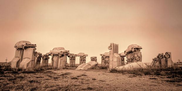 The Carhenge installation stands in the Nevada desert. Photo / 123RF