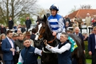 Jockey Jim Crowley and Eminent after taking out the Craven Stakes at Newmarket. Photo / Steve Davies, Racingfotos.com