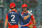 Delhi Daredevils' batsman Corey Anderson, rear, and his teammate Chris Morris greet each other after winning. Photo / AP