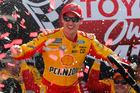 Joey Logano celebrates after winning the NASCAR Cup Series race at Richmond. Photo / AP