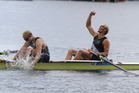 Hamish Bond and Eric Murray celebrate after winning gold in the Men's Pair at the London Olympics. Photo / Brett Phibbs
