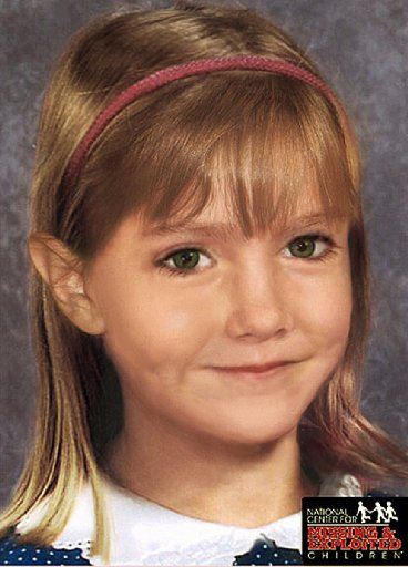An age-enhanced photo of Madeleine McCann as she might look aged six years old.