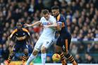 Leeds United's Chris Wood (left) will not be plying his trade in the Premier League for Leeds next season after failing to secure a Championship play-off spot. Photo / Getty Images.