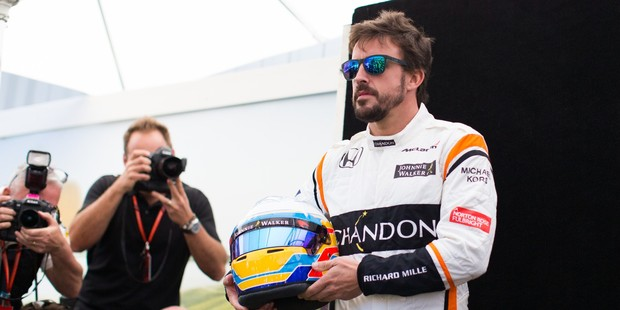 Fernando Alonso poses during driver portrait session before the Australian Grand Prix. Photo / Getty Images