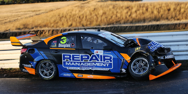 The car of Taz Douglas during race 3 for the Tasmania SuperSprint. Photo / Getty Images