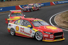 Fabian Coulthard leads Scott McLaughlin during the Supercars round at Tasmania. Photo / Getty Images