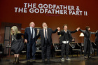 Diane Keaton, James Caan, Francis Ford Coppola, Al Pacino and Talia Shire take a bow onstage during the panel for The Godfather 45th Anniversary Screening. Photo / Getty