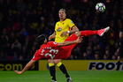 Emre Can scores Liverpool's only goal in their 1-0 win over Watford this morning (NZT). Photo / Getty Images.