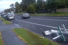 Joyrider takes out lampposts in Manurewa. Photo/Supplied