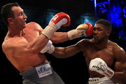 nthony Joshua (White Shorts) and Wladimir Klitschko (Gray Shorts) in action during the IBF, WBA and IBO Heavyweight World Title bout at Wembley Stadium. Photo / Getty Images.