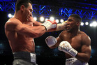 Anthony Joshua (White Shorts) and Wladimir Klitschko (Gray Shorts) in action during the IBF, WBA and IBO Heavyweight World Title bout. Photo / Getty Images.