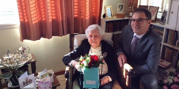 Madeline Anderson on her 110th birthday with Polish Ambassador Zbigniew Gniatkowski. Photo/Supplied