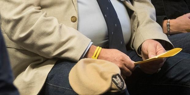 The NZSAS beret Rob Clark took to the Takapuna Grammar Anzac Day service. Photo / Brett Phibbs