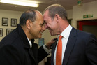 Labour list candidate Willie Jackson with Labour leader Andrew Little at the party offices in Wellington today. New Zealand Herald photograph by Mark Mitchell