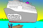 Dialogue with cruise companies over wharf length is welcome as long as they bring their cheque books. Illustration / Peter Bromhead