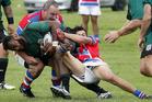 Ngamatapouri tryscorer Samu Kubunavanua takes on the Ratana defence in their away win at the Pa on Saturday.