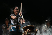 Japanese drummers at the World Masters Games closing ceremony at The Cloud Auckland tonight.  Photo /  Doug Sherring