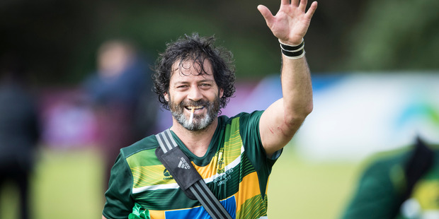 Willie Apiata leaves the pitch after the full-time whistle at the World Masters Games rugby final between his Pukekohe team and North Western Allies. Photo/Jason Oxenham