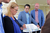 Transport Minister Simon Bridges announces a major road revamp of SH29 and SH1, with Taupo MP Louise Upston and Hamilton East MP David Bennett. Photo/George Novak