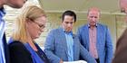 Transport Minister Simon Bridges announces a major road revamp of SH29 and SH1, with Taupo MP Louise Upston and Hamilton East MP David Bennett. Photo/George Novak