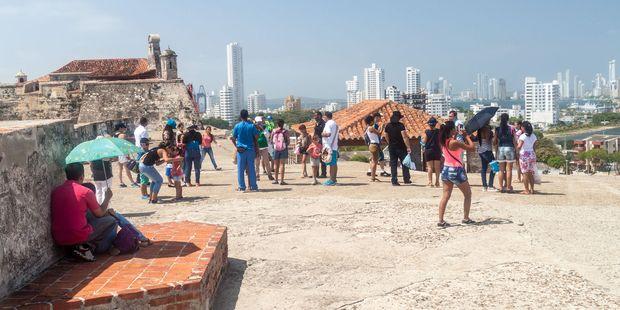 Tourists visit Castillo de San Felipe de Barajas castle in Cartagena. Photo / 123RF