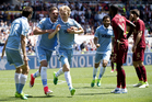 Lazio's Dusan Basta, 3rd from left, celebrates with teammates after scoring during a Serie A soccer match between Roma and Lazio. Photo / AP