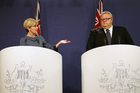 It was a patchy first week for Gerry Brownlee in his debut as Foreign Minister, seen here today with Australian Foreign Minister Julie Bishop at their post-bilateral talks press conference in Sydney. Photo / AP