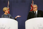 Australian Foreign Minister Julie Bishop (left) and NZ Foreign Minister Gerry Brownlee hold a joint press conference in Sydney. Photo/AP
